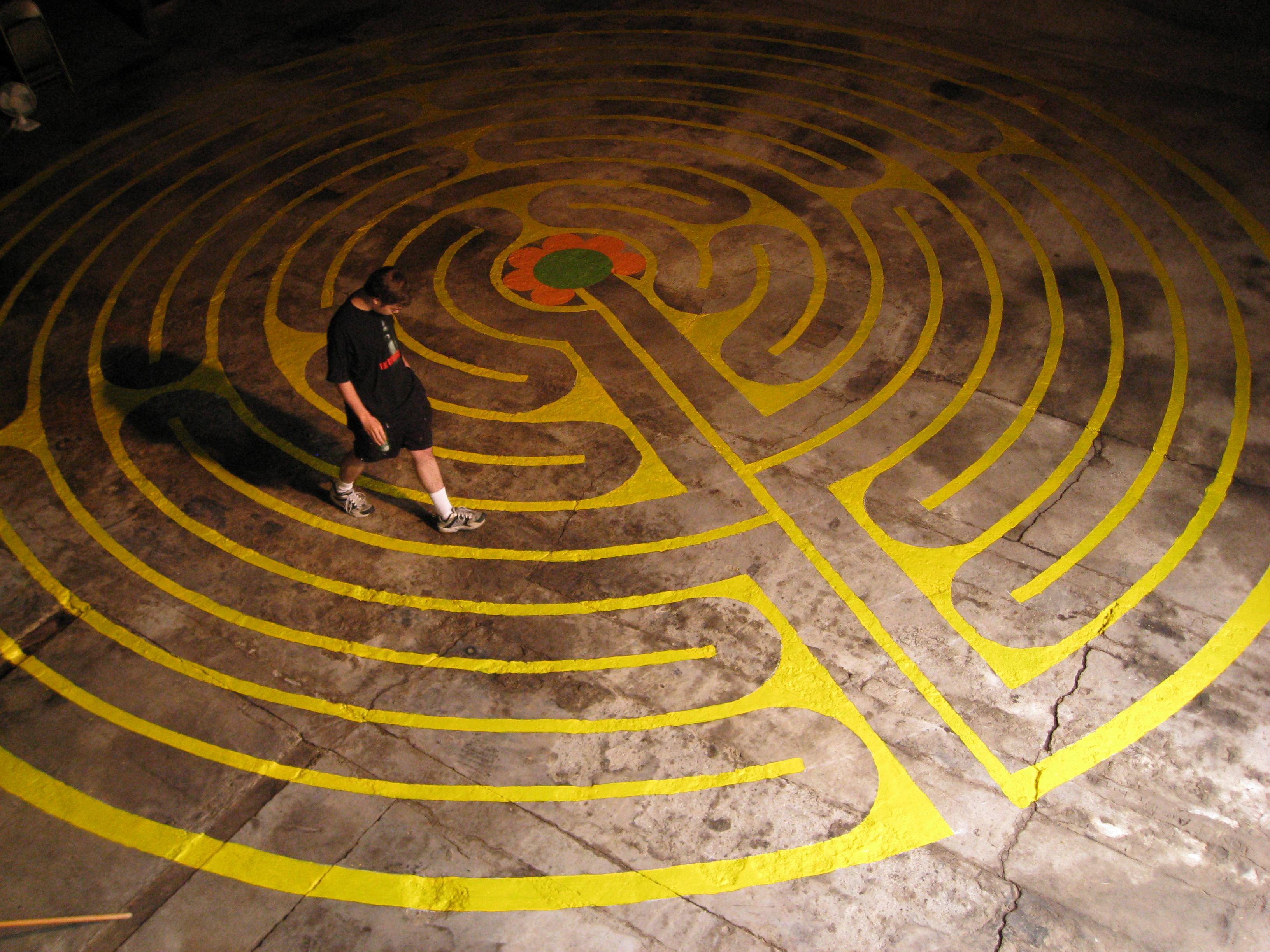 The great labyrinth is painted on the floor of the Great Barn.